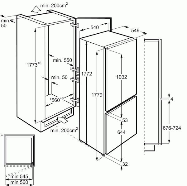 AEG SCE8182VTS Integrated 70/30 Frost Free Fridge Freezer
