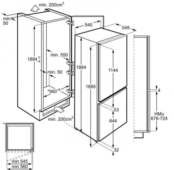 AEG SCE81928TS Integrated Frost Free Fridge Freezer