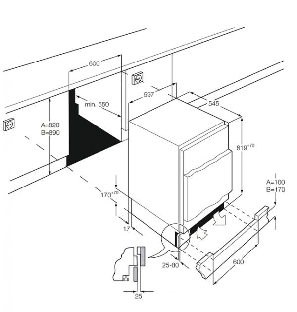 AEG SFE58221AF Integrated Fridge with Ice Box
