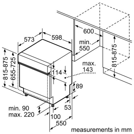 Bosch SMI50C15GB 60cm Semi Integrated Dishwasher