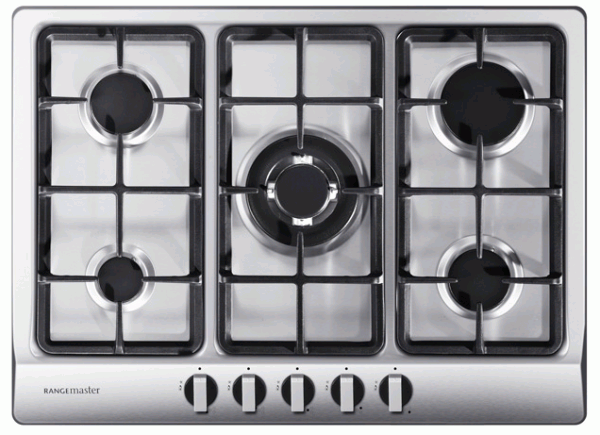 Rangemaster RMB70HPNGFSS/ 11222 Built-In 5 Burner Stainless Steel Gas Hob