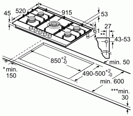 Bosch PCR9A5B90 90cm Gas Hob