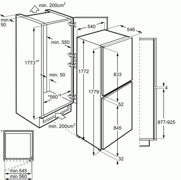 Zanussi ZBB27650SA Integrated 50/50 Fridge Freezer