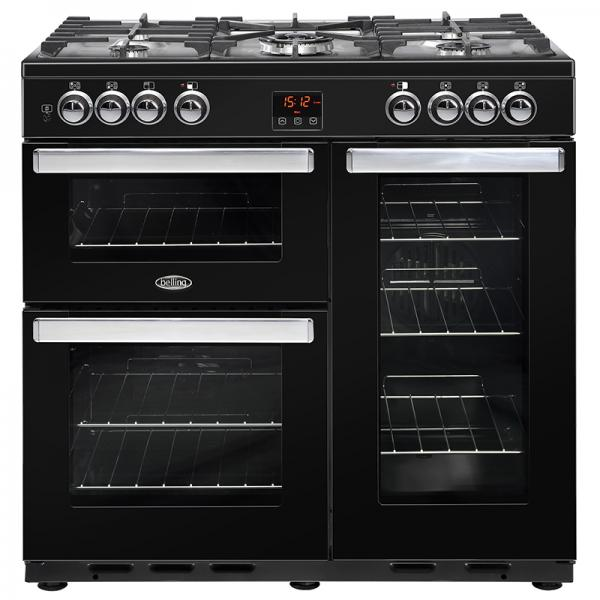 Belling 444444071 Black Cookcentre 90DFT Dual Fuel Range Cooker
