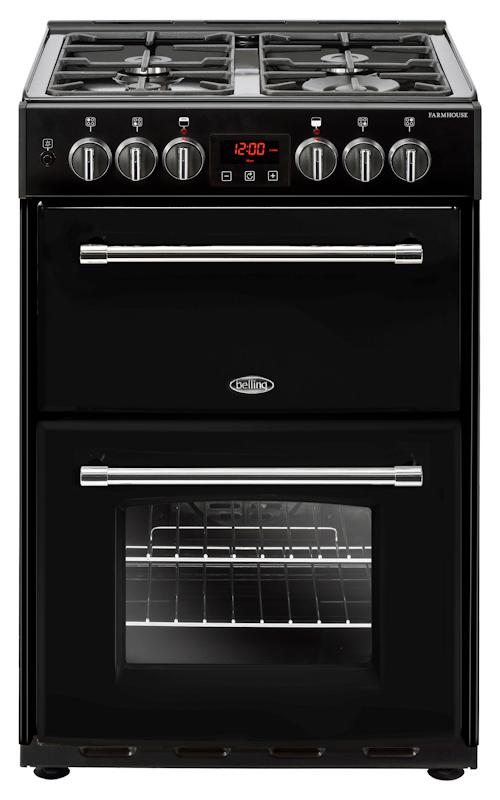 Belling 60DF 444444714 Farmhouse 60cm Black Dual Fuel Mini Range Cooker