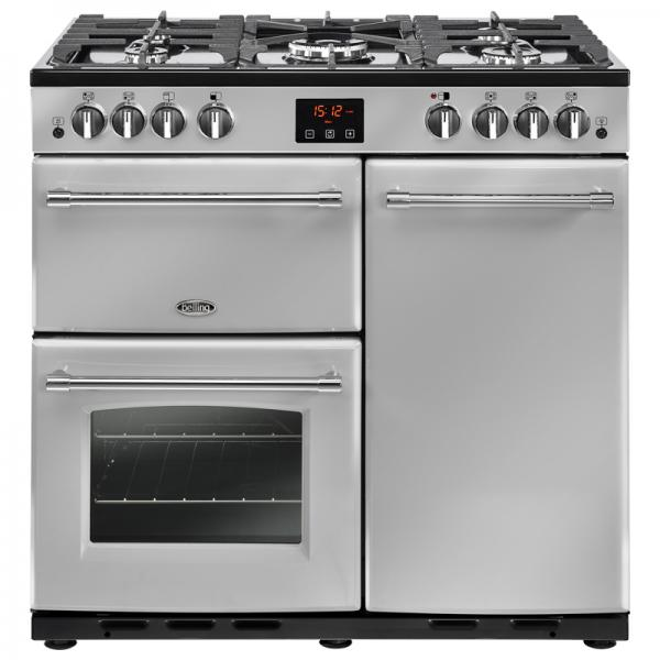 Belling 444444128 90G Silver Farmhouse Gas Range Cooker