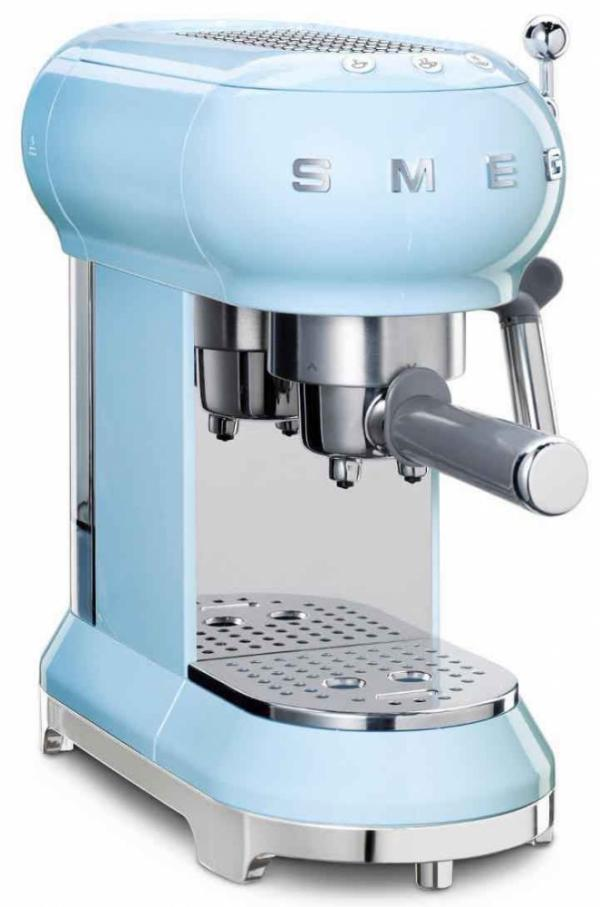 Smeg ECF01PBUK 50's Retro Pastel Blue Espresso Coffee Machine