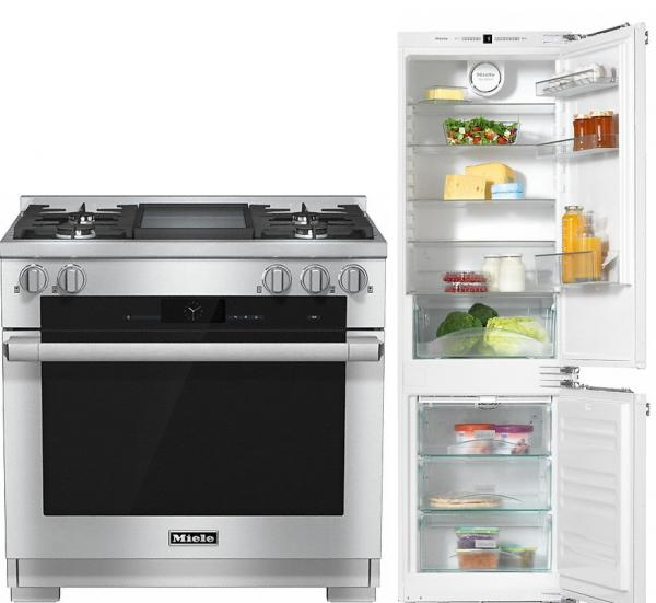 Miele 98003000 HR1936G 90cm Dual Fuel Range Cooker / Free KFN37232iD Built-in Fridge Freezer Pack