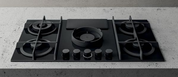 Elica NT-FLAME-BLK-DO NikolaTesla Flame Black Gas Hob with Ducted Extraction