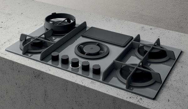 Elica NT-FLAME-GR-DO NikolaTesla Flame Grey Gas Hob with Ducted Extraction