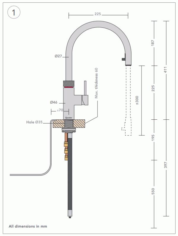 quooker 3xchr pro3 flex chrome boiling water tap. Black Bedroom Furniture Sets. Home Design Ideas