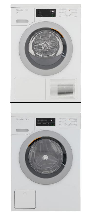 Miele WCE320 / TCH620WP / WTV511 - Washing Machine / Heat Pump Tumble Dryer / Stacking Kit Pack